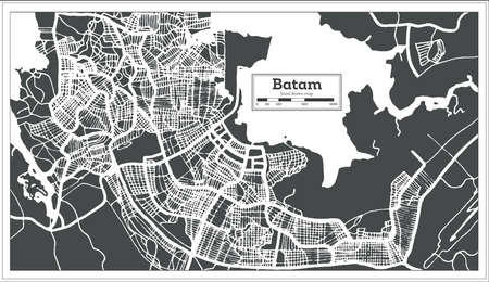 Batam Indonesia City Map in Retro Style. Outline Map. Vector Illustration.