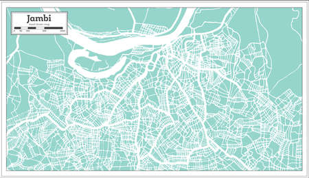 Jambi Indonesia City Map in Retro Style. Outline Map. Vector Illustration.