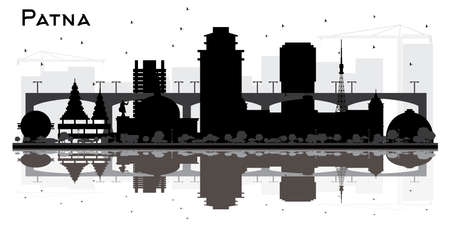 Patna India City Skyline Silhouette with Black Buildings and Reflections Isolated on White Background. Vector Illustration. Patna Cityscape with Landmarks. Illustration