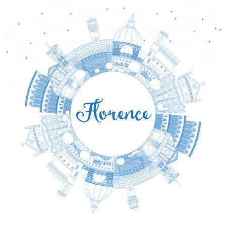 Profilo dello skyline di Firenze Italia città con edifici blu e copia spazio. Illustrazione vettoriale. Viaggi d'affari e turismo concetto con architettura moderna. Paesaggio urbano di Firenze con punti di riferimento.