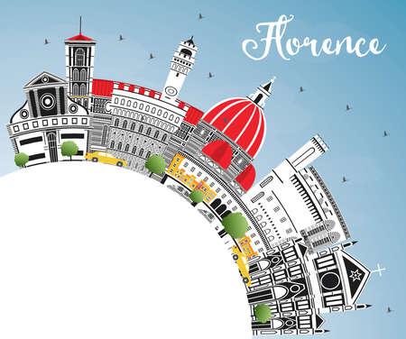 Orizzonte della città di Firenze Italia con edifici di colore, cielo blu e spazio di copia. Illustrazione vettoriale. Viaggi d'affari e turismo concetto con architettura moderna. Paesaggio urbano di Firenze con punti di riferimento.