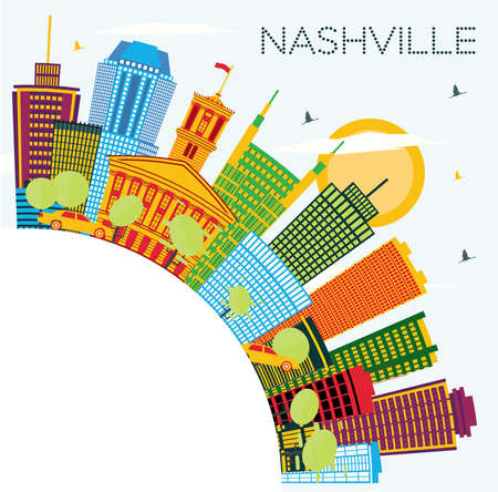 Nashville Tennessee City Skyline with Color Buildings, Blue Sky and Copy Space. Vector Illustration. Business Travel and Tourism Concept with Modern Architecture. Nashville Cityscape with Landmarks.