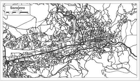 Sarajevo Bosnia and Herzegovina City Map in Retro Style. Outline Map. Vector Illustration.