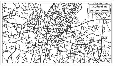 Hyderabad India City Map in Retro Style. Outline Map. Vector Illustration.