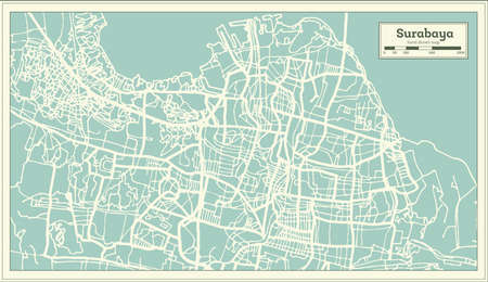 Surabaya Indonesia City Map in Retro Style. Outline Map. Vector Illustration.