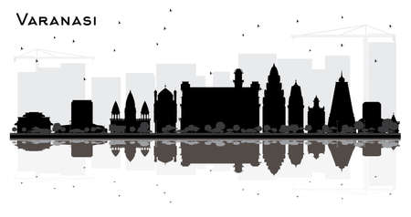 Varanasi India City Skyline Silhouette with Black Buildings and Reflections Isolated on White. Vector Illustration. Business Travel and Tourism Concept with Historic Architecture. Varanasi Cityscape with Landmarks. Illustration
