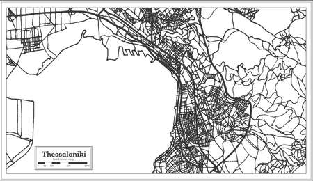 Thessaloniki Greece City Map in Retro Style. Outline Map. Vector Illustration. Illustration