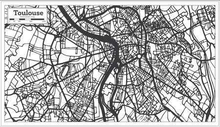 Toulouse France City Map in Retro Style. Outline Map. Vector Illustration.