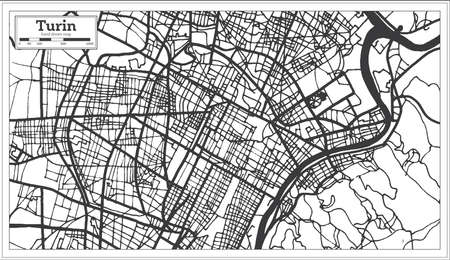 Turin Italy City Map in Retro Style. Outline Map. Vector Illustration. Иллюстрация