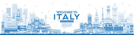 Outline Welcome to Italy Skyline with Blue Buildings. Famous Landmarks in Italy. Vector Illustration. Business Travel and Tourism Concept with Historic Architecture. Italy Cityscape with Landmarks.