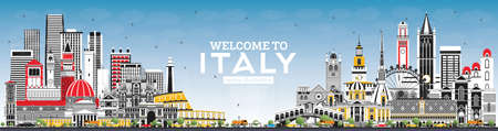 Welcome to Italy Skyline with Gray Buildings and Blue Sky. Famous Landmarks in Italy. Vector Illustration. Business Travel and Tourism Concept with Historic Architecture. Italy Cityscape with Landmarks.