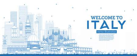 Esquema Bienvenido al horizonte de Italia con edificios azules. Monumentos famosos en Italia. Ilustración de vector. Concepto de turismo y viajes de negocios con arquitectura histórica. Paisaje urbano de Italia con hitos. Ilustración de vector