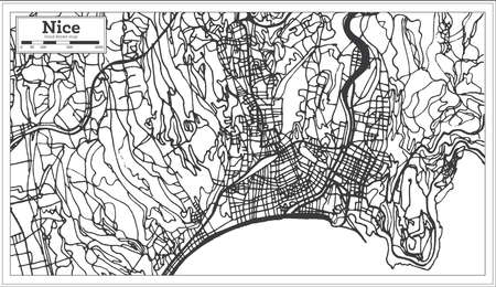 Bonito mapa de la ciudad de Francia en estilo retro. Mapa de contorno. Ilustración de vector. Ilustración de vector