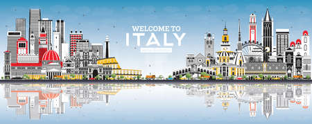 Welcome to Italy City Skyline with Gray Buildings, Blue Sky and Reflections. Famous Landmarks in Italy. Vector Illustration. Tourism Concept with Historic Architecture. Italy Cityscape with Landmarks.