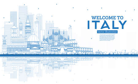 Outline Welcome to Italy City Skyline with Blue Buildings and Reflections. Famous Landmarks in Italy. Vector Illustration. Travel and Tourism Concept with Historic Architecture. Italy Cityscape with Landmarks.