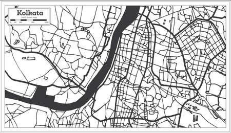 Kolkata India City Map in Retro Style. Outline Map. Vector Illustration. Illustration