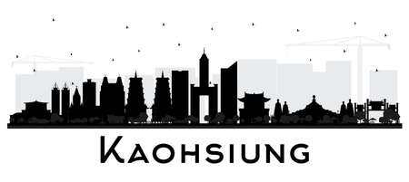 Taiwan City Skyline Silhouette with Black Buildings Isolated on White. Vector Illustration. Business Travel and Tourism Concept with Historic Architecture. Kaohsiung China Cityscape with Landmarks.