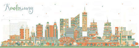 Kaohsiung Taiwan City Skyline with Color Buildings. Vector Illustration. Business Travel and Tourism Concept with Historic Architecture. Kaohsiung China Cityscape with Landmarks. Illustration