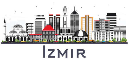 Izmir Turkey City Skyline with Color Buildings Isolated on White. Vector Illustration. Business Travel and Tourism Concept with Modern Architecture. Izmir Cityscape with Landmarks. Illustration