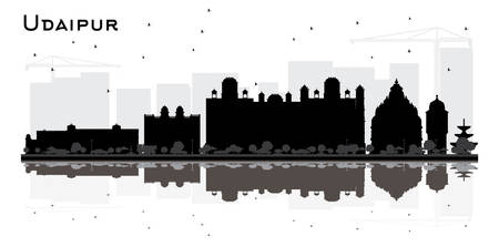 Udaipur India City Skyline Silhouette with BlackBuildings and Reflections Isolated on White. Vector Illustration. Tourism Concept with Historic Architecture. Udaipur Cityscape with Landmarks. 일러스트