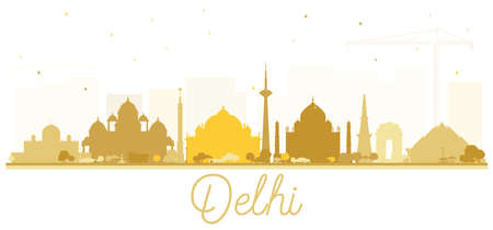 India City Skyline Silhouette with Golden Buildings Delhi. Hyderabad. Kolkata. Vector Illustration. Tourism Concept with Historic Architecture. India Cityscape with Landmarks.