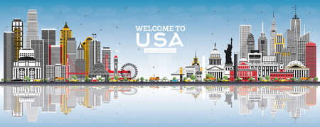 Welcome to USA Skyline with Gray Buildings, Blue Sky and Reflections. Famous Landmarks in USA. Vector Illustration. Tourism Concept with Historic Architecture. USA Cityscape with Landmarks.