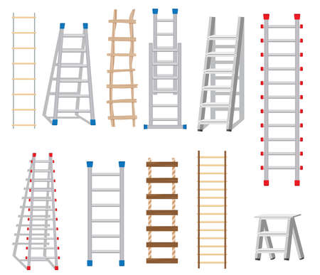 Ladders Set Made from Different Materials: Wood and Metal. Rope Ladder. Vector Illustration.