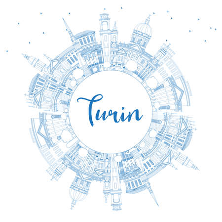 Outline Turin Italy City Skyline with Blue Buildings and Copy Space. Vector Illustration. Business Travel and Tourism Concept with Modern Architecture. Turin Cityscape with Landmarks. Ilustração