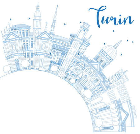 Outline Turin Italy City Skyline with Blue Buildings and Copy Space. Vector Illustration. Business Travel and Tourism Concept with Modern Architecture. Turin Cityscape with Landmarks. Vettoriali