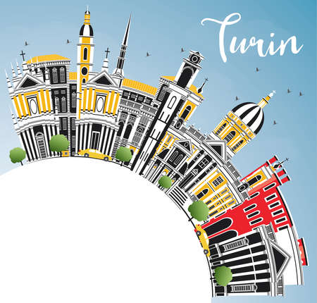 Turin Italy City Skyline with Color Buildings, Blue Sky and Copy Space. Vector Illustration. Business Travel and Tourism Concept with Modern Architecture. Turin Cityscape with Landmarks.