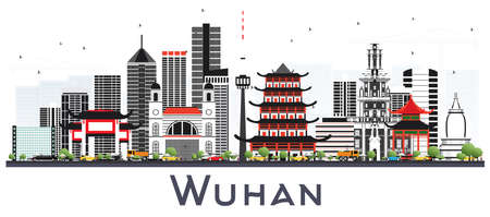 Wuhan China City Skyline with Gray Buildings Isolated on White. Vector Illustration. Business Travel and Tourism Concept with Modern Architecture. Wuhan Cityscape with Landmarks.