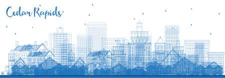 Outline Cedar Rapids Iowa Skyline with Blue Buildings. Vector Illustration. Business Travel and Tourism Illustration with Historic Architecture. Illusztráció