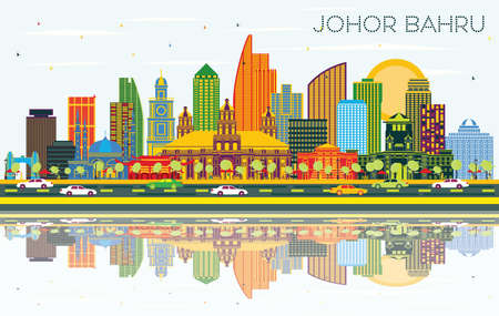 Johor Bahru Malaysia City Skyline with Color Buildings, Blue Sky and Reflections. Vector Illustration. Business Travel and Tourism Illustration with Modern Architecture. Johor Bahru Cityscape with Landmarks. Illustration