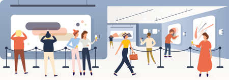 Exhibition Visitors, Tourists Viewing Modern Paintings in Contemporary Art Gallery or Biennale. Vector Illustrations. Furshet. Museum Interior. Men and Women with Glasses of Champagne. Illustration