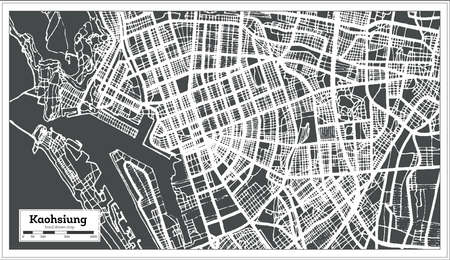 Kaohsiung Taiwan City Map in Retro Style. Outline Map. Vector Illustration.