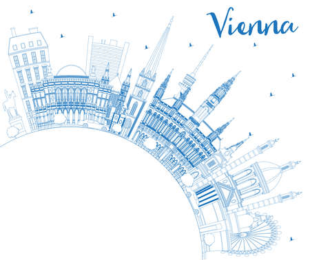 Outline Vienna Austria City Skyline with Blue Buildings and Copy Space. Vector Illustration. Business Travel and Tourism Concept with Historic Architecture. Vienna Cityscape with Landmarks.