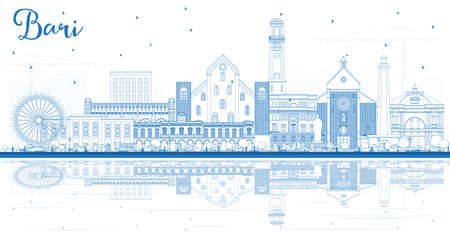 Outline Bari Italy City Skyline with Blue Buildings and Reflections. Vector Illustration. Business Travel and Tourism Concept with Modern Architecture. Bari Cityscape with Landmarks.