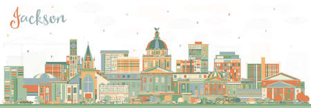 Jackson Mississippi City Skyline with Color Buildings and Blue Sky. Vector Illustration. Business Travel and Tourism Concept with Historic Architecture. Jackson USA Cityscape with Landmarks.