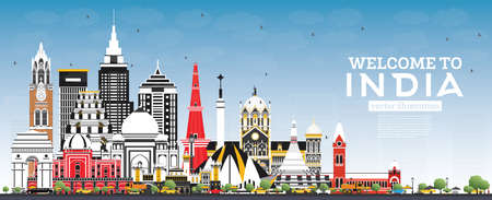 Welcome to India City Skyline with Color Buildings and Blue Sky. Delhi. Mumbai, Bangalore, Chennai. Vector Illustration. Tourism Concept with Historic Architecture. India Cityscape with Landmarks.