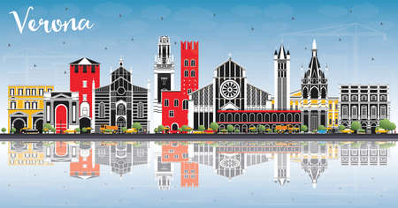 Verona Italy City Skyline with Color Buildings, Blue Sky and Reflections. Vector Illustration. Business Travel and Tourism Concept with Historic Architecture. Verona Cityscape with Landmarks.