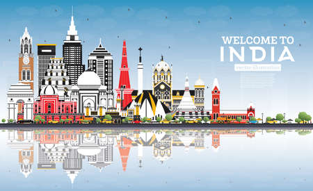 Welcome to India City Skyline with Color Buildings, Blue Sky and Reflections. Delhi. Mumbai, Bangalore, Chennai. Vector Illustration. Historic Architecture. India Cityscape with Landmarks.