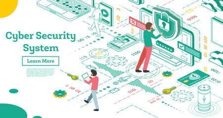 Cyber-Sicherheitskonzept zu skizzieren. Isometrische Illustration getrennt auf Weiß. Datenschutzkonzept. Kreditkartenprüfung und Softwarezugriffsdaten als vertraulich. Vektor-Illustration.