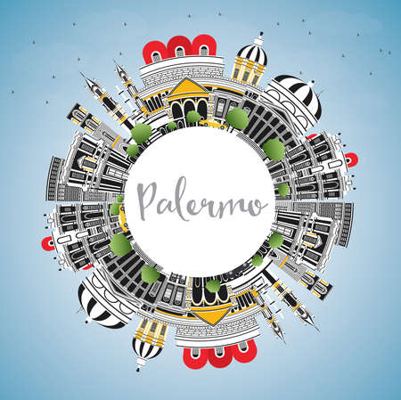 Palermo Italy City Skyline with Color Buildings, Blue Sky and Copy Space. Vector Illustration. Business Travel and Tourism Concept with Historic Architecture. Palermo Sicily Cityscape with Landmarks.