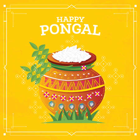 Happy Pongal Harvest Festival of Tamil Nadu South India. Vector Illustration. Pot with Food.