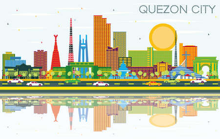 Quezon City Philippines City Skyline with Color Buildings, Blue Sky and Reflections. Vector Illustration. Business Travel and Tourism Illustration with Modern Architecture. Quezon City Cityscape.