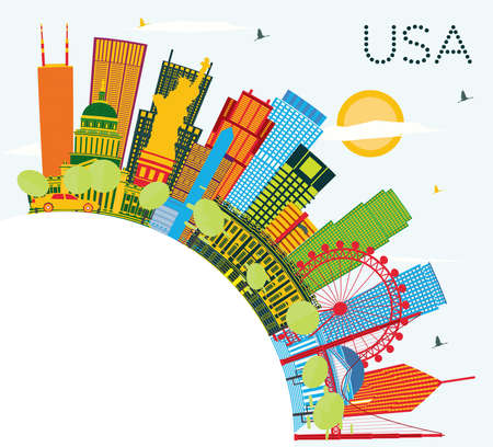 USA Skyline with Color Skyscrapers and Landmarks. Vector Illustration. Business Travel and Tourism Concept with Modern Architecture. Image for Presentation Banner Placard and Web Site. Vettoriali