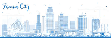 Outline Kansas City Missouri Skyline with Blue Buildings. Vector Illustration. Business Travel and Tourism Concept with Modern Architecture. Kansas City Cityscape with Landmarks. Ilustração