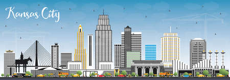 Kansas City Missouri Skyline with Color Buildings and Blue Sky. Vector Illustration. Business Travel and Tourism Concept with Modern Architecture. Kansas City Cityscape with Landmarks. Иллюстрация