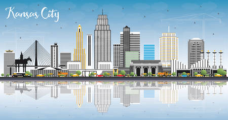 Kansas City Missouri Skyline with Color Buildings, Blue Sky and Reflections. Vector Illustration. Business Travel and Tourism Concept with Modern Architecture. Kansas City Cityscape with Landmarks.