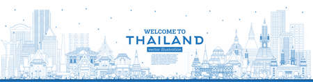 Outline Welcome to Thailand City Skyline with Blue Buildings. Vector Illustration. Tourism Concept with Historic Architecture. Thailand Cityscape with Landmarks.  イラスト・ベクター素材